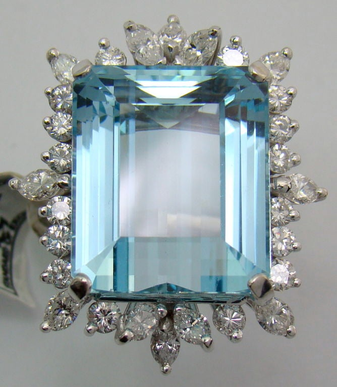 1950s Aquamarine Diamond Gold Ring  2