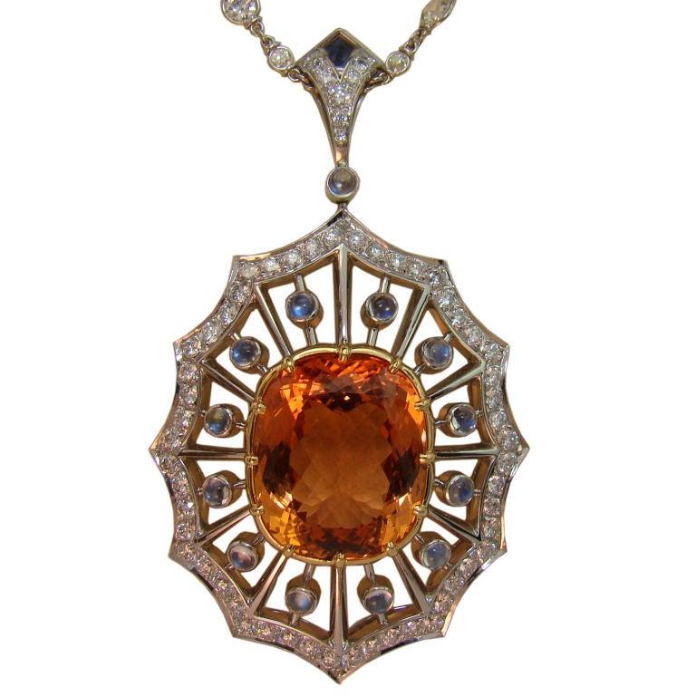 Imperial topaz moonstone and diamond pendant in platinum for imperial topaz moonstone diamond pendant in platinum for sale aloadofball Image collections
