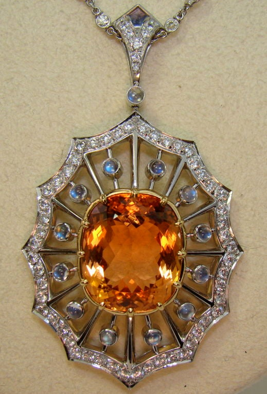 Imperial Topaz, Moonstone, & Diamond Pendant in Platinum In Excellent Condition For Sale In Carmel-by-the-Sea, CA