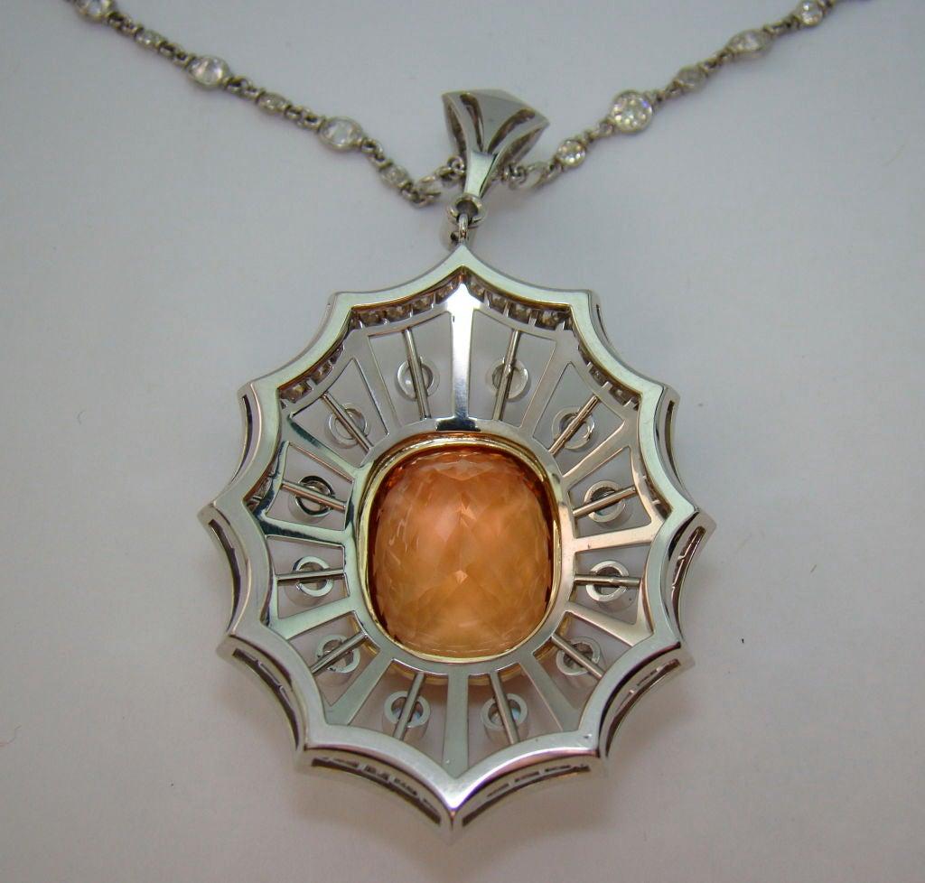 Imperial Topaz, Moonstone, & Diamond Pendant in Platinum For Sale 1