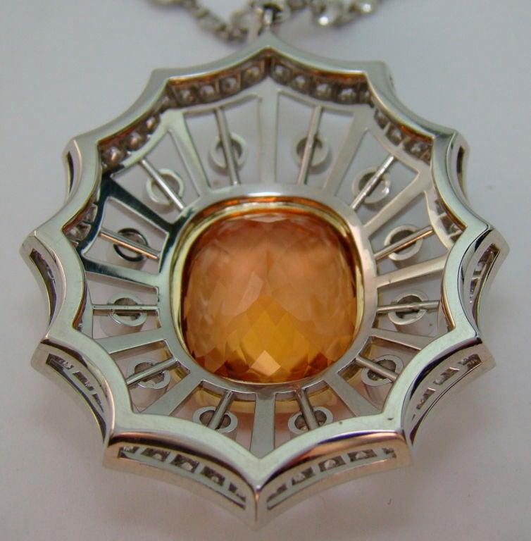 Women's Imperial Topaz, Moonstone, & Diamond Pendant in Platinum For Sale