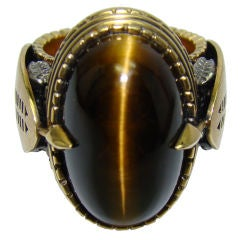 Huge Tiger Eye Ring in Handmade 18K Yellow Gold Ring
