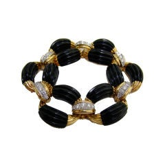 Onyx, Diamond & 18K Yellow Gold Bracelet