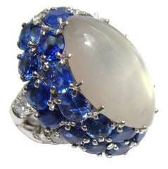 Moonstone, Blue Sapphire & Diamond Ring in 18K White Gold