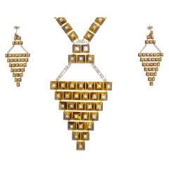 Tiger Eye, Diamond, Yellow Gold & White Gold Suite