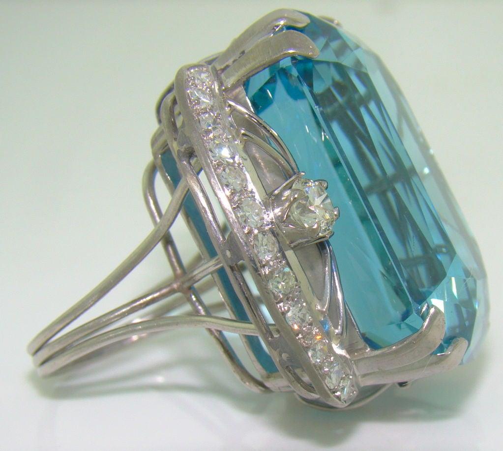 86.35 ct. Santa Maria Aquamarine, Diamond & Platinum Ring 2
