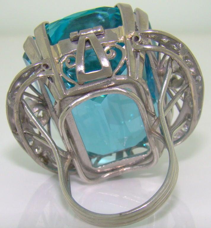 86.35 ct. Santa Maria Aquamarine, Diamond & Platinum Ring 3