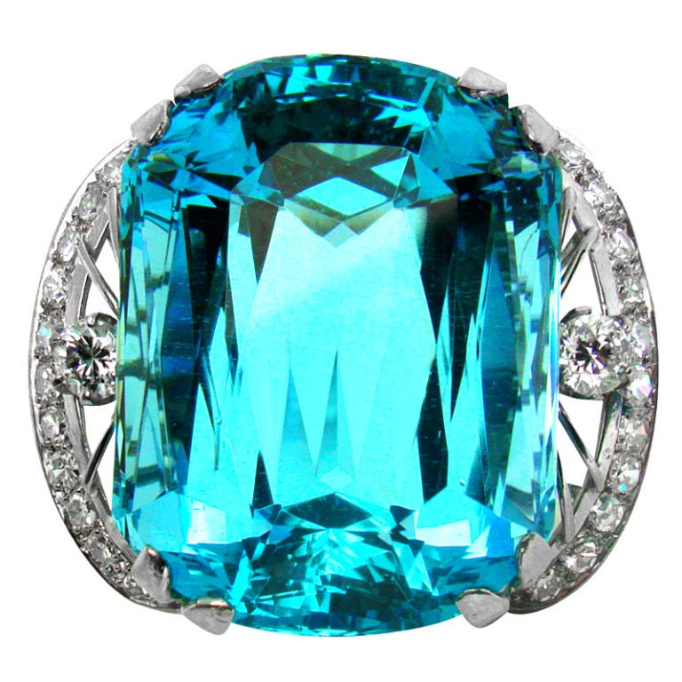 86.35 ct. Santa Maria Aquamarine, Diamond & Platinum Ring 1