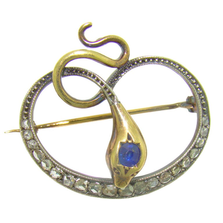 Victorian Snake Brooch Silver on Yellow Gold, Diamond & Sapphire 1