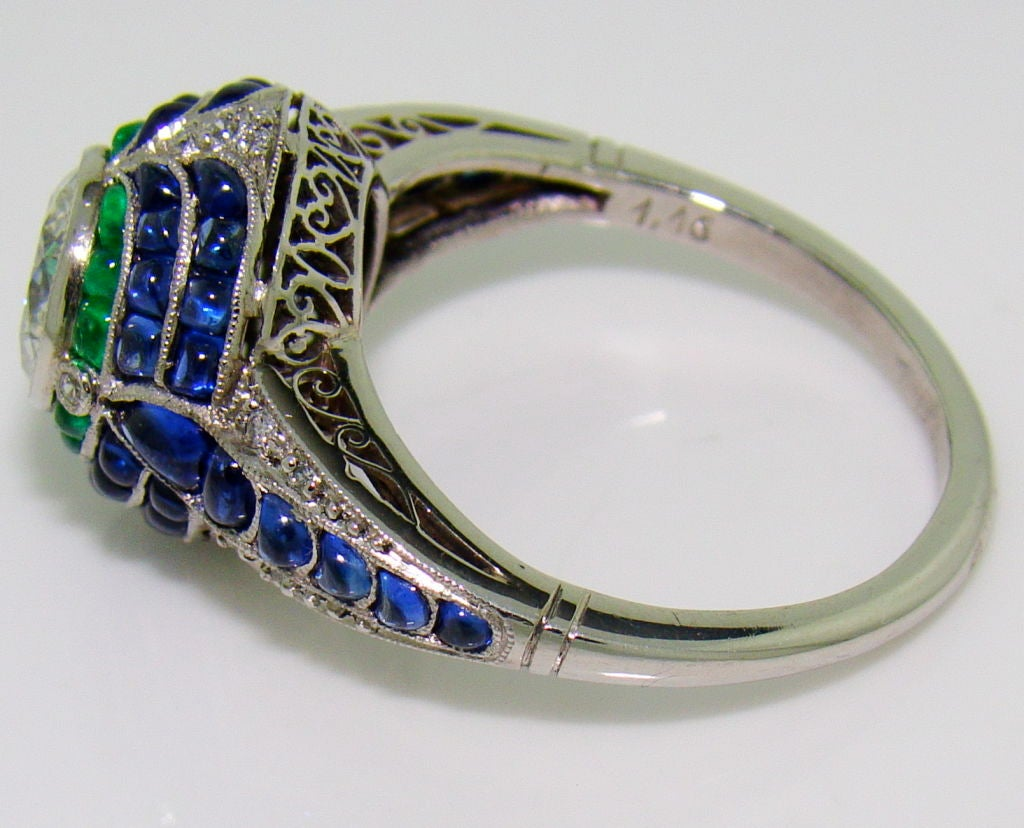 handmade platinum sugarloaf emerald and sapphire