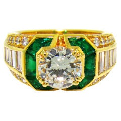 Mauboussin 18K Yellow Gold, Diamond & Emerald Ring