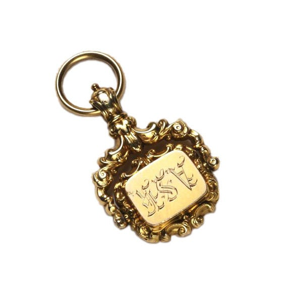 """Antique English Repousse Locket Spinner Fob Reads """"ASK"""""""