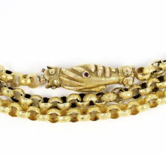 Antique  Long Gold Chain, Georgian with Clasped Hands Closure