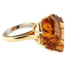 18KT Gold and Munsteiner Carved Citrine Ring
