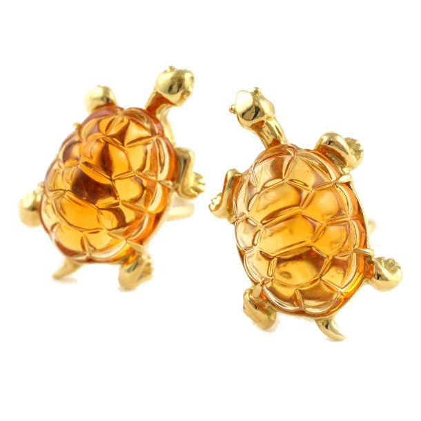 18kt gold and carved citrine turtle earrings at 1stdibs