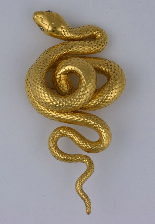Women's Massive Victorian French Diamond Gold Serpent Brooch For Sale