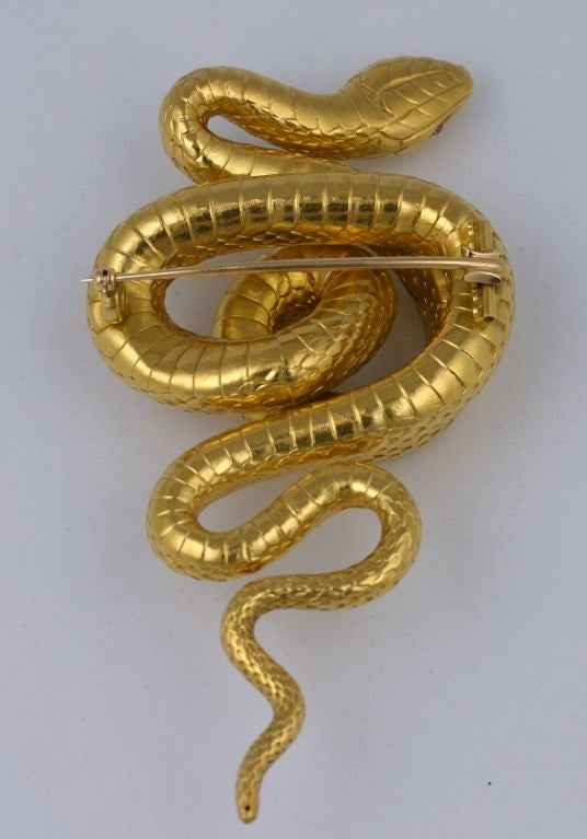 Massive Victorian French Diamond Gold Serpent Brooch For Sale 1