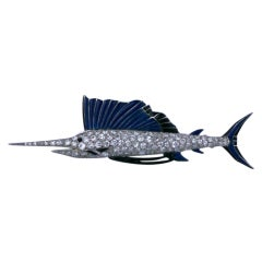 Art Deco Enamel Onyx Diamond Platinum Sailfish