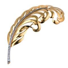 Tiffany Retro Gold and Diamond Feather