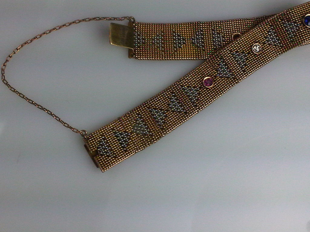 Women's Yellow and White Gold Deco Mesh Bracelet with Stones For Sale