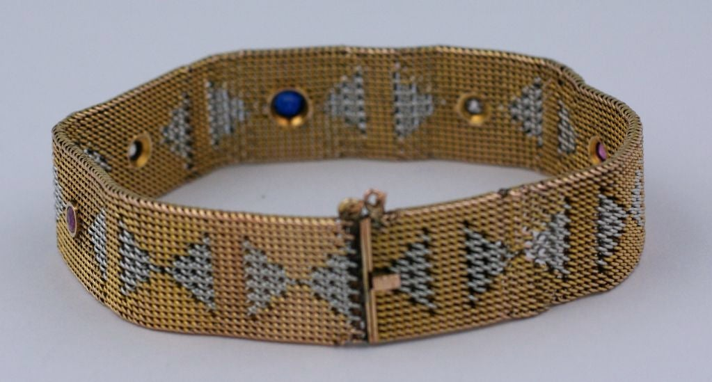 Yellow and White Gold Deco Mesh Bracelet with Stones In Excellent Condition For Sale In Riverdale, NY
