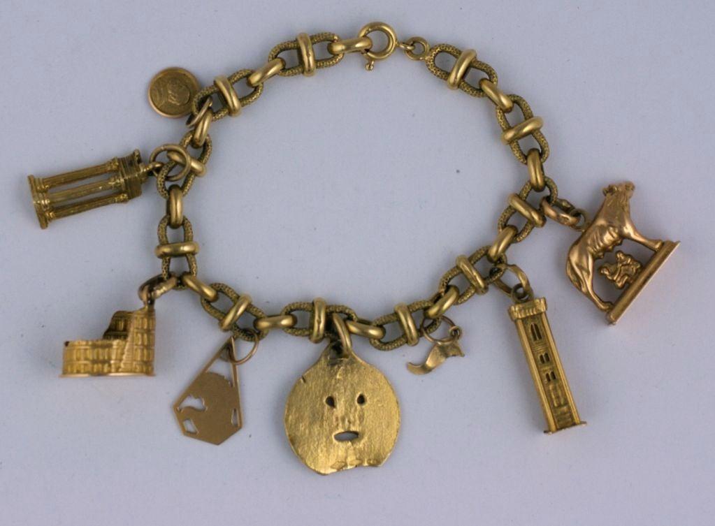 18k italian motif charm bracelet at 1stdibs