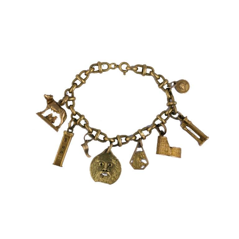 Italian Charm Bracelet Brands: 18k Italian Motif Charm Bracelet At 1stdibs