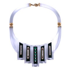 Custom Lucite Diamond Emerald Ruby Collar Necklace