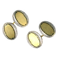 Art Deco Enamel Two-Tone Cufflinks