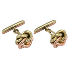 Elegant Two-Tone Gold Knot Cufflinks