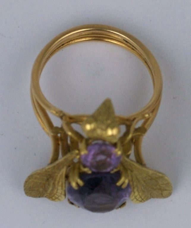 Oversized Amethyst Gold Bee Ring In Excellent Condition For Sale In Riverdale, NY