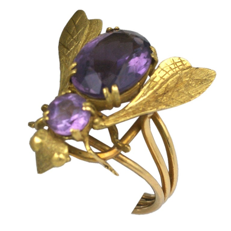 Oversized Amethyst Gold Bee Ring For Sale