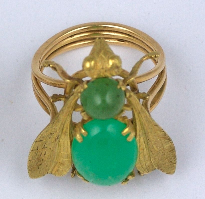 Oversized Chrysophrase Gold Bee Ring In Excellent Condition For Sale In Riverdale, NY