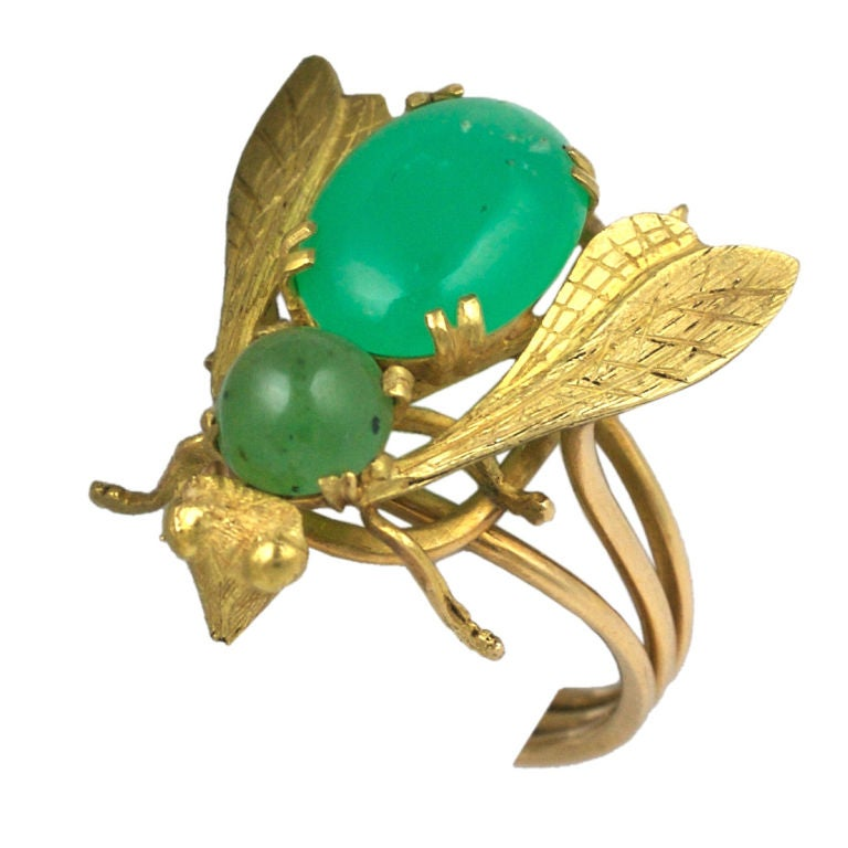 Oversized Chrysophrase Gold Bee Ring For Sale