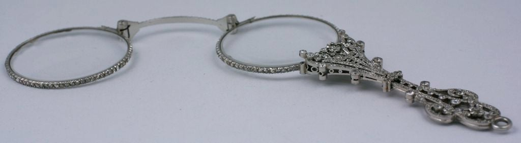Edwardian Exceptional Pave Rose Diamond Lorgnette For Sale
