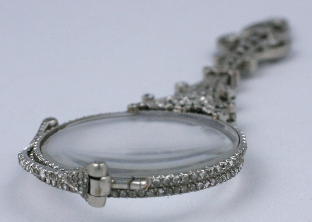 Exceptional Pave Rose Diamond Lorgnette In Excellent Condition For Sale In Riverdale, NY