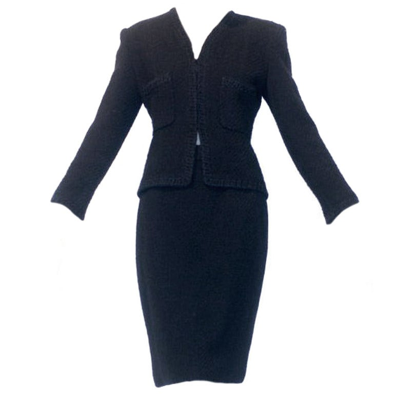 Chanel Haute Couture Black Suit At 1stdibs