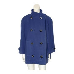 Nina Ricci French blue wool double breasted sculpted jacket