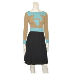 Ronald Amey tricolor wool knit day dress with modernist detail