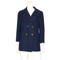 Hermes navy blue double face wool casmhere pea jacket