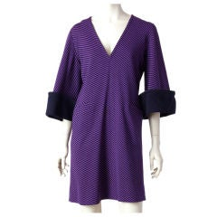 Rudi Gernreich purple and black wool knit dress