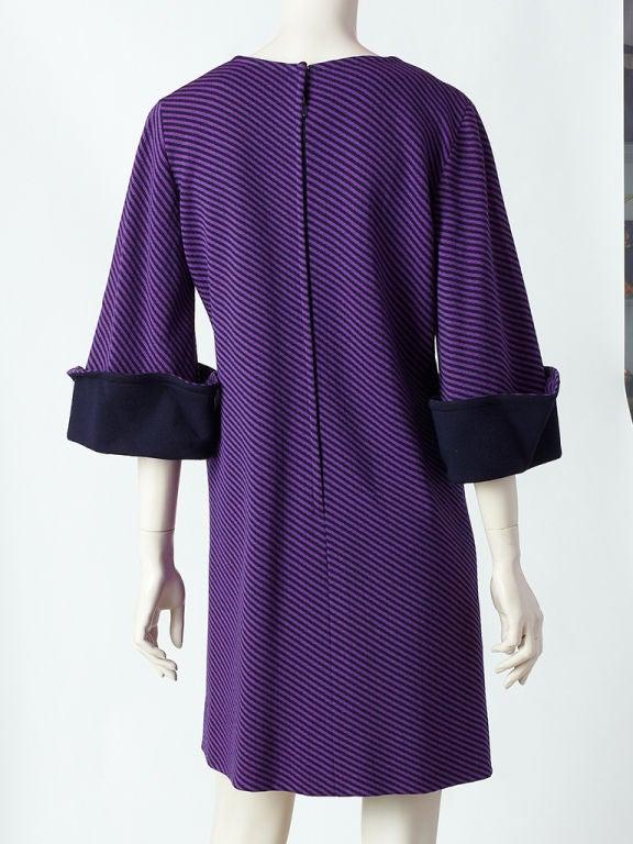 Purple Rudi Gernreich purple and black wool knit dress For Sale