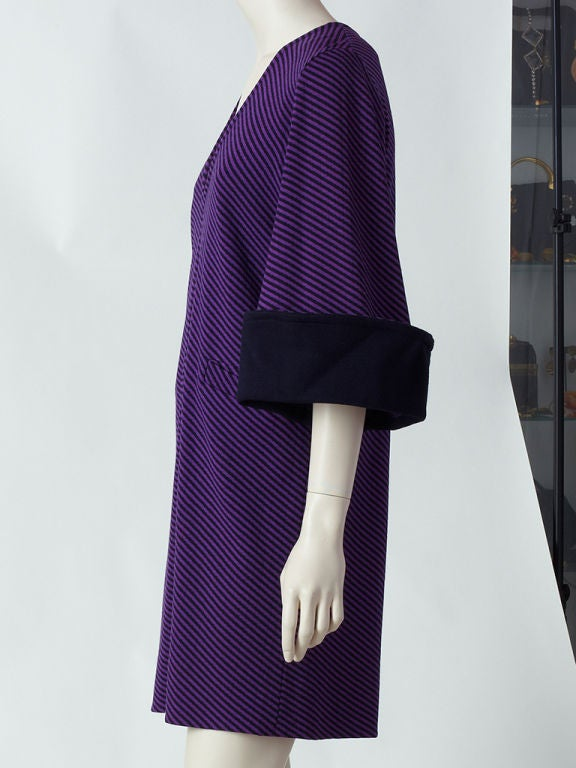 "Rudi Gernreich for Harmon knitwear purple and black diagonal stripe dress with a deep ""V"" neck and deep black cuffs."