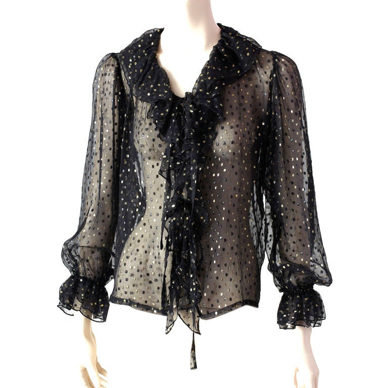 YSl Sheer Ruffle Front Blouse For Sale