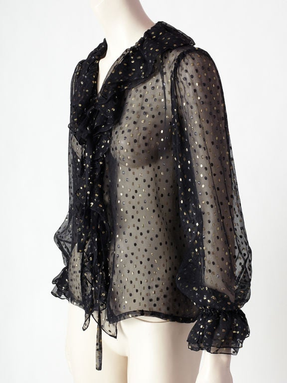 YSL black chiffon blouse with gold lame and flocked velvet polka<br />