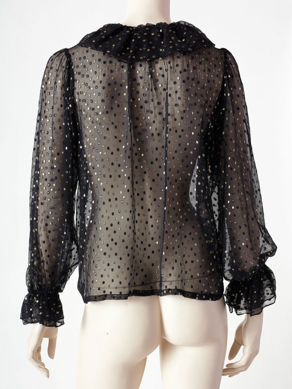 Women's YSl Sheer Ruffle Front Blouse For Sale