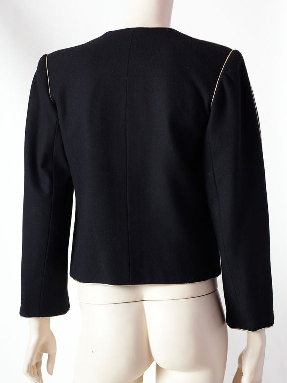 YSL wool croped jacket with gold trim 4