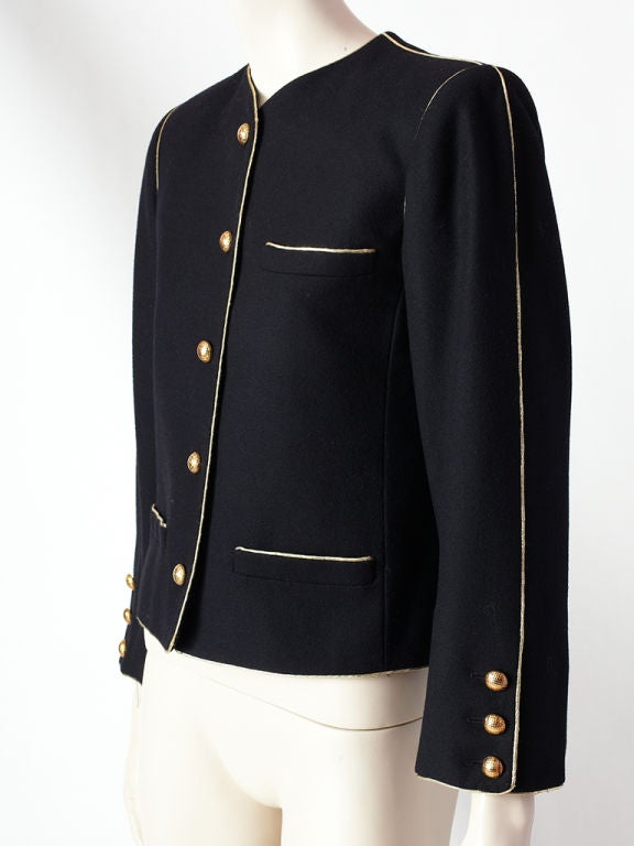 YSL wool croped jacket with gold trim 3