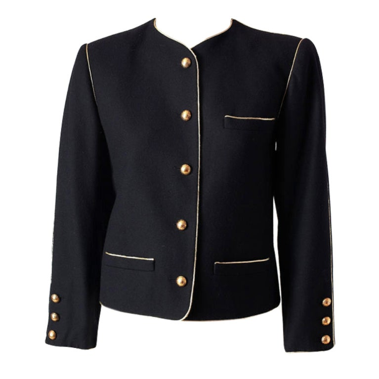 YSL wool croped jacket with gold trim 1