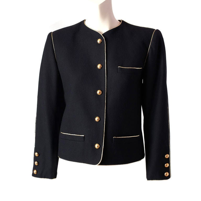 YSL wool croped jacket with gold trim 2